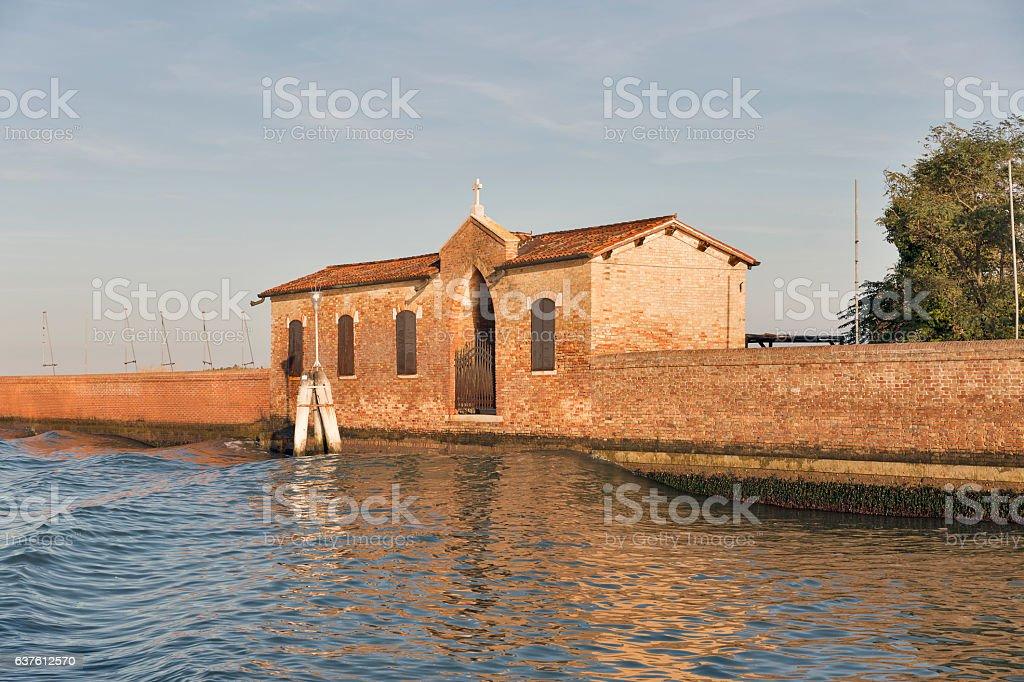 San Giacomo in Paludo island in sunset Venice lagoon, Italy. stock photo