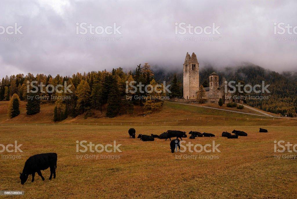 San Gian church near Celerina stock photo