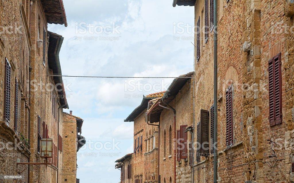 San Gimignano charming narrow streets medieval town stock photo