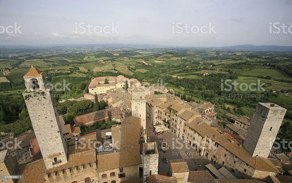 San Gimignano from above, Tuscany Italy stock photo