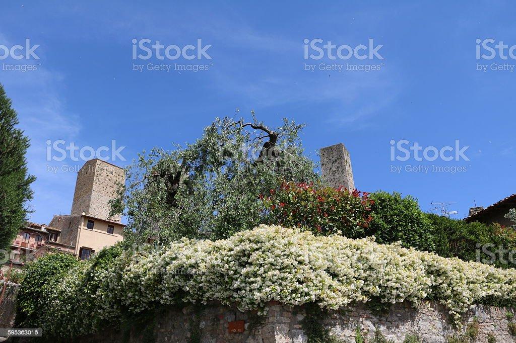 San Gimignano in spring, Tuscany Italy stock photo