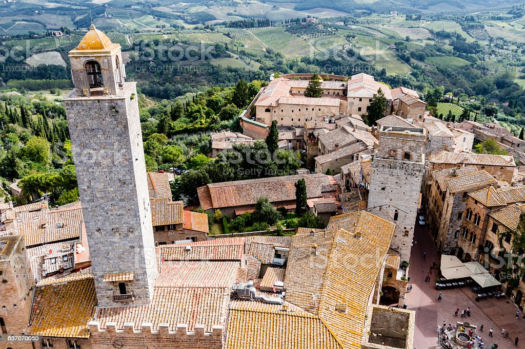 San Gimignano is a medieval town in Tuscany stock photo