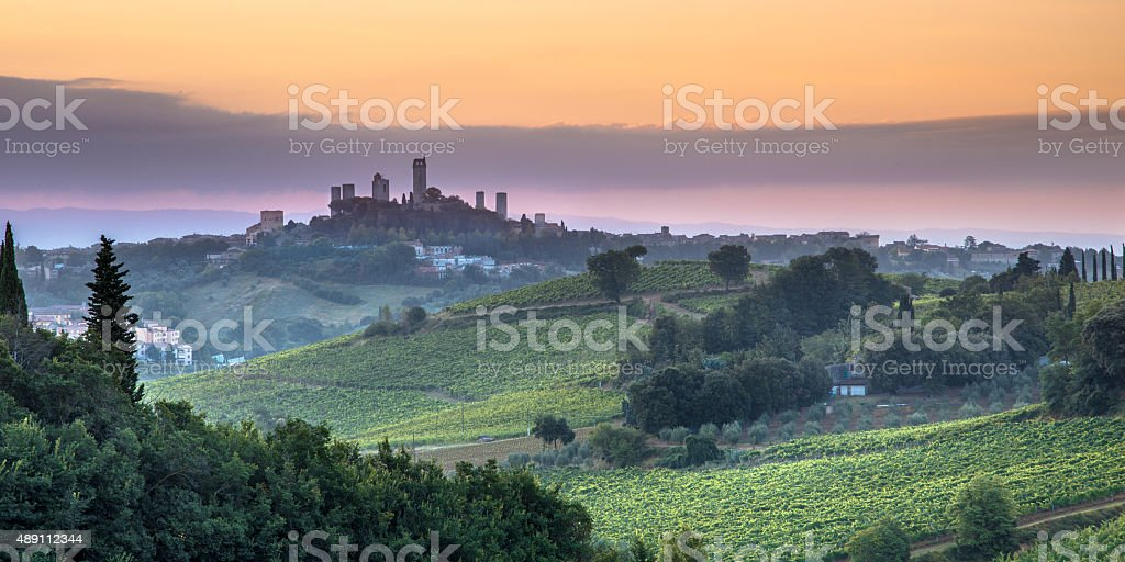 San Gimignano landscape, Italy stock photo