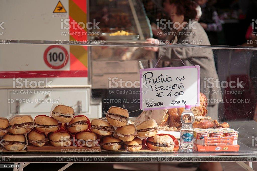 San Gimignano market, Tuscany, Italy stock photo