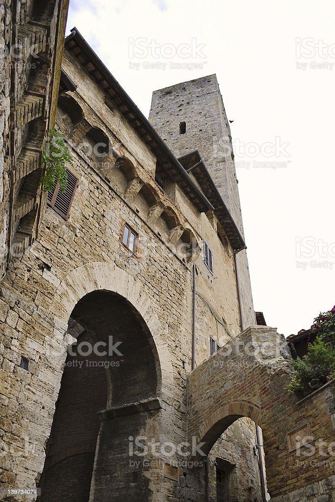 San Gimignano tower, Siena, Tuscany, Italy stock photo