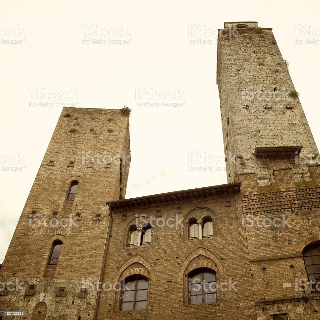 San Gimignano towers in sepia tone stock photo