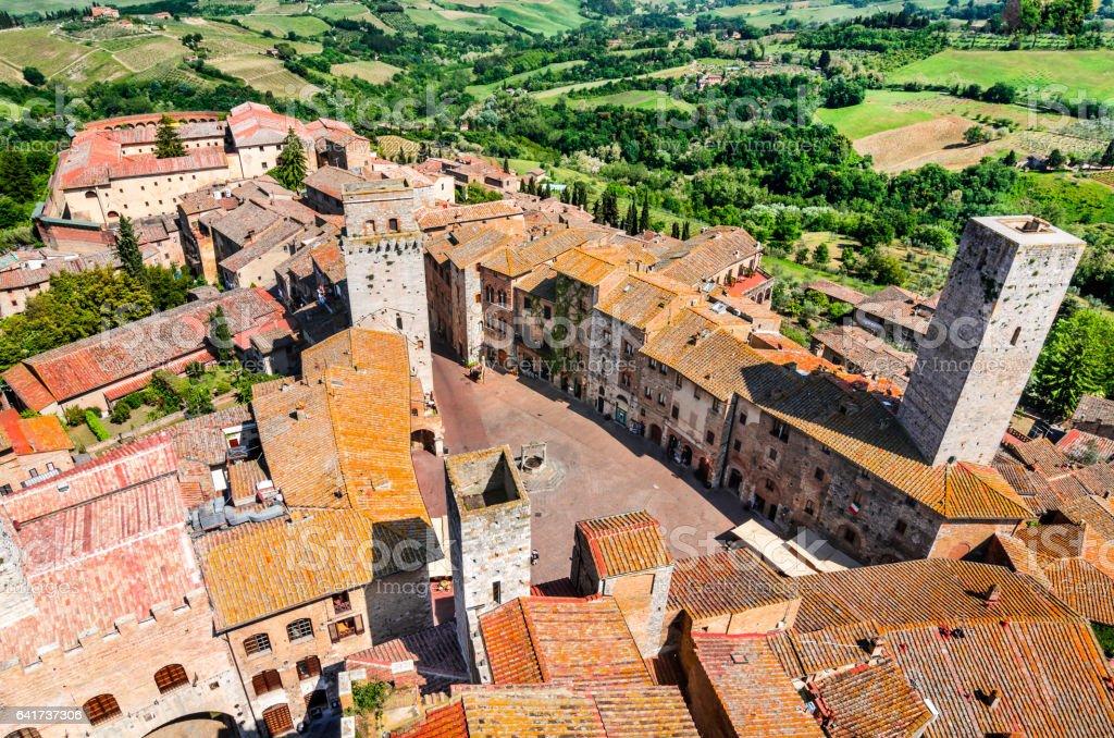 San Gimignano, Tuscany - Piazza della Cisterna stock photo