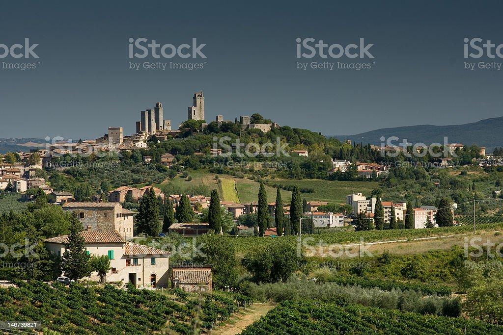 San Gimignano view with grey sky royalty-free stock photo