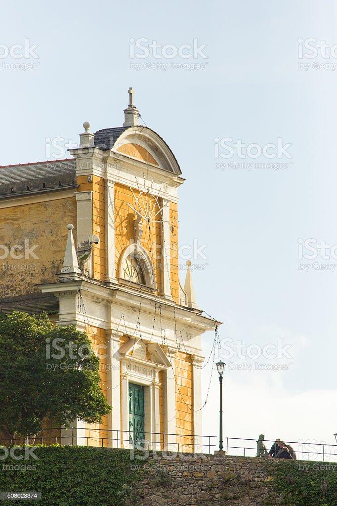 San Giorgio Church in Portofino, Italy stock photo