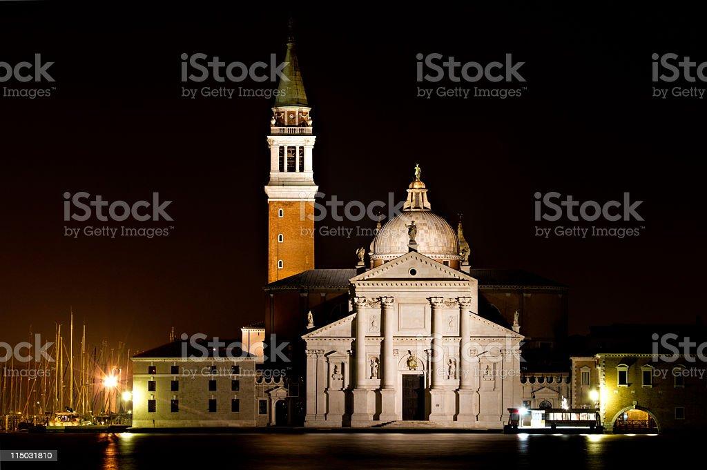 San Giorgio Maggiore at night royalty-free stock photo
