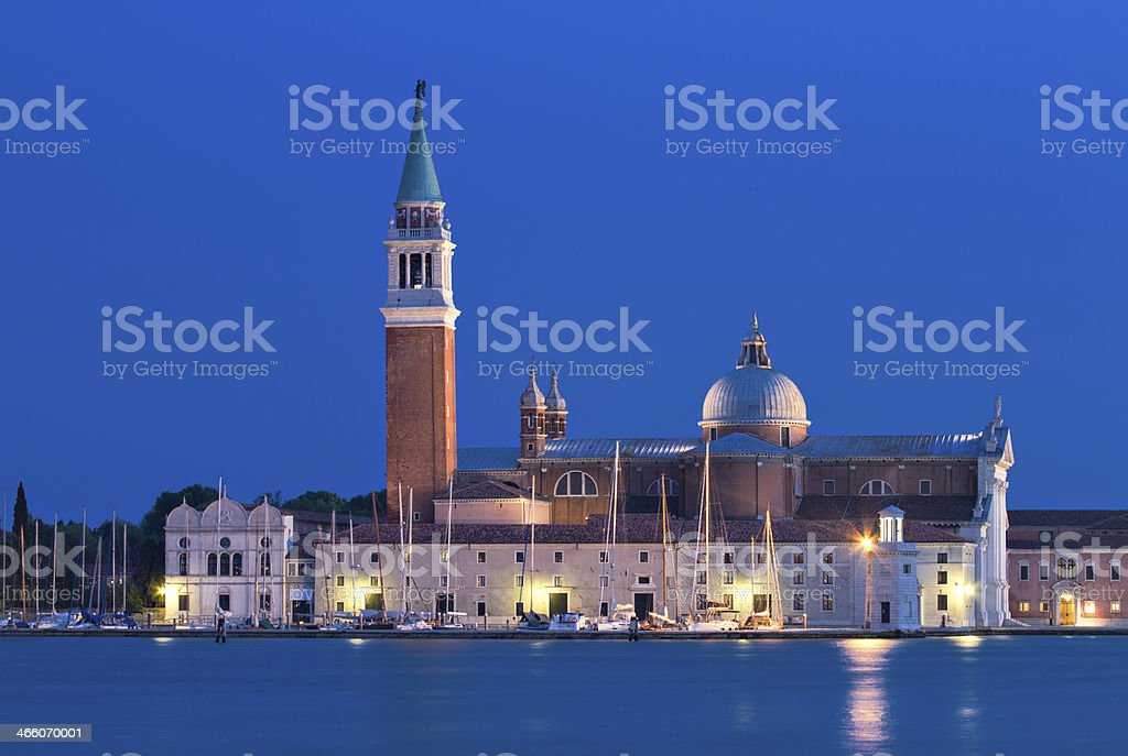 San Giorgio Maggiore at the blue hour royalty-free stock photo
