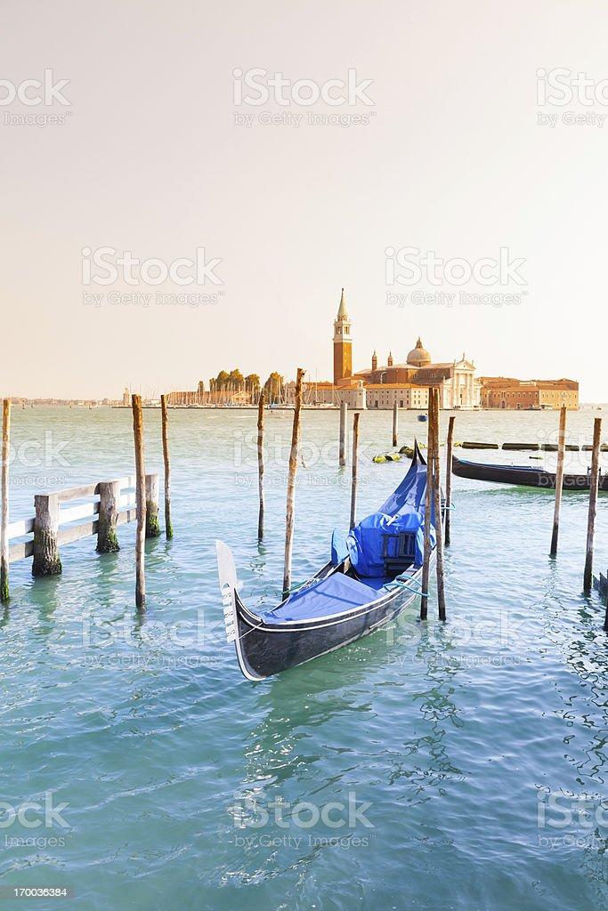 San Giorgio Maggiore church and gondola in Venice royalty-free stock photo