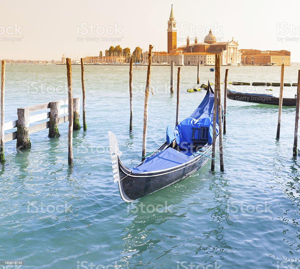 San Giorgio Maggiore church and gondola in Venice stock photo