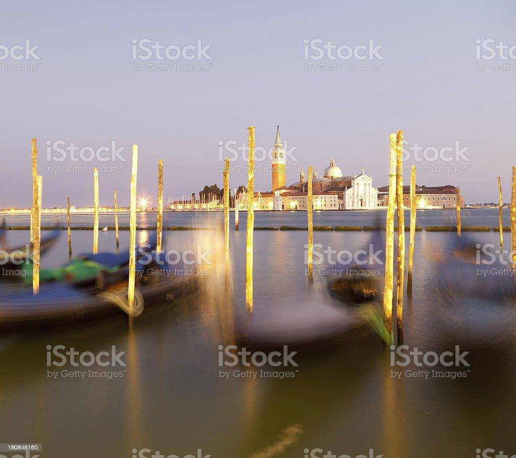 San Giorgio Maggiore church and gondolas in Venice royalty-free stock photo