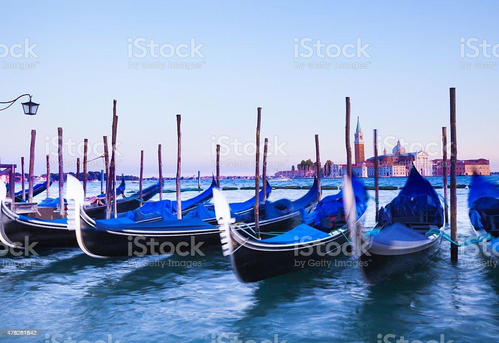 San Giorgio Maggiore church and gondolas in Venice stock photo