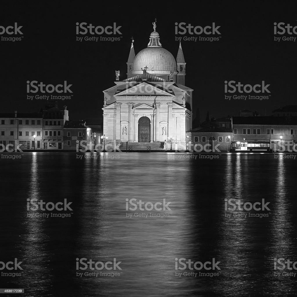 San Giorgio Maggiore church Long exposure By Night. Blurred moti royalty-free stock photo