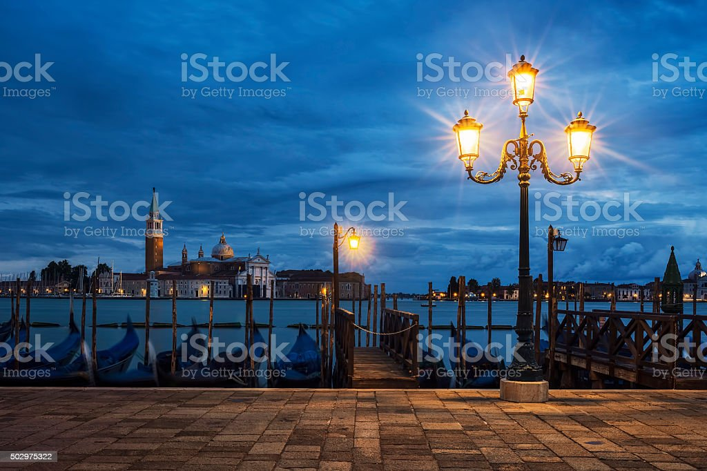 San Giorgio Maggiore from Venice by nigh stock photo