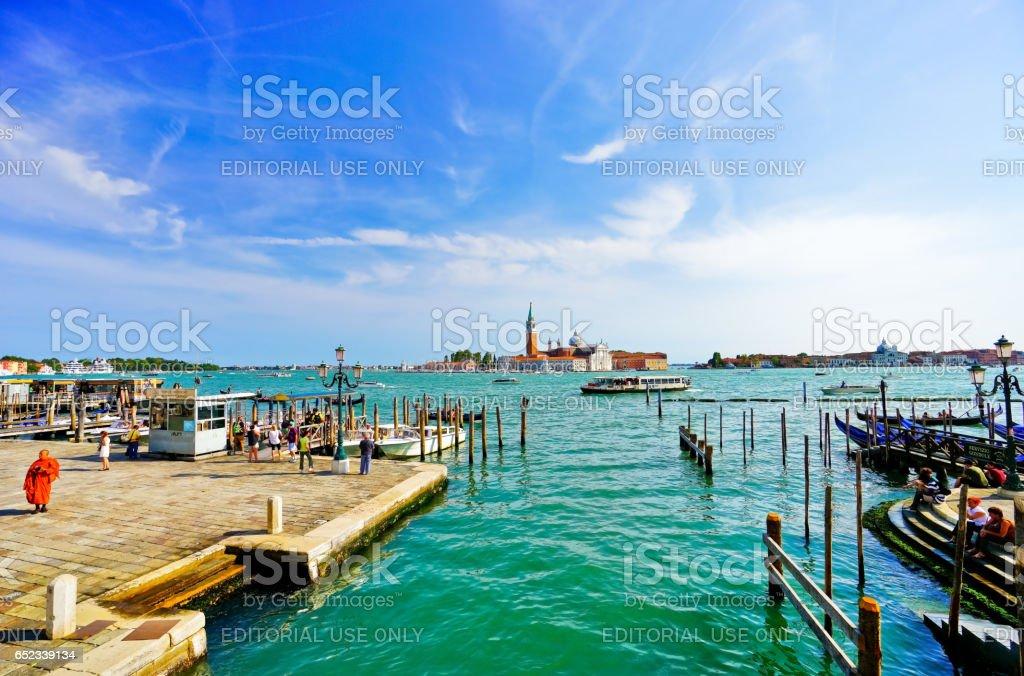 San Giorgio Maggiore in the background in Venice stock photo