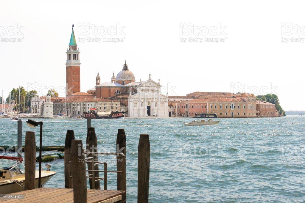 San Giorgio Maggiore, water of St. Mark's Basin, Venice, Italy. stock photo