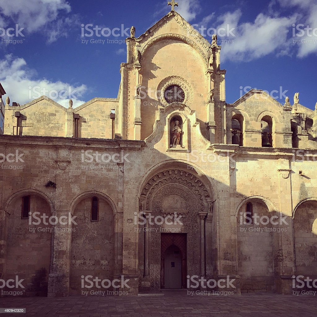 San Giovanni Battista's Church in Matera, Basilicata, Italy stock photo
