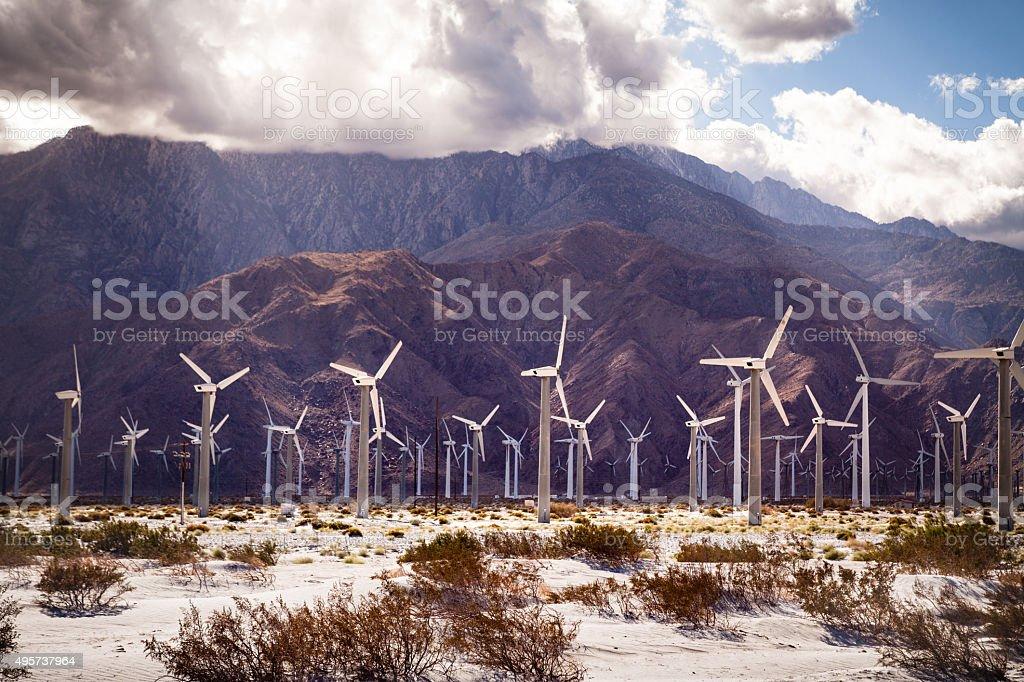 San Gorgonio Pass Wind Farm & San Jacinto Mountains royalty-free stock photo
