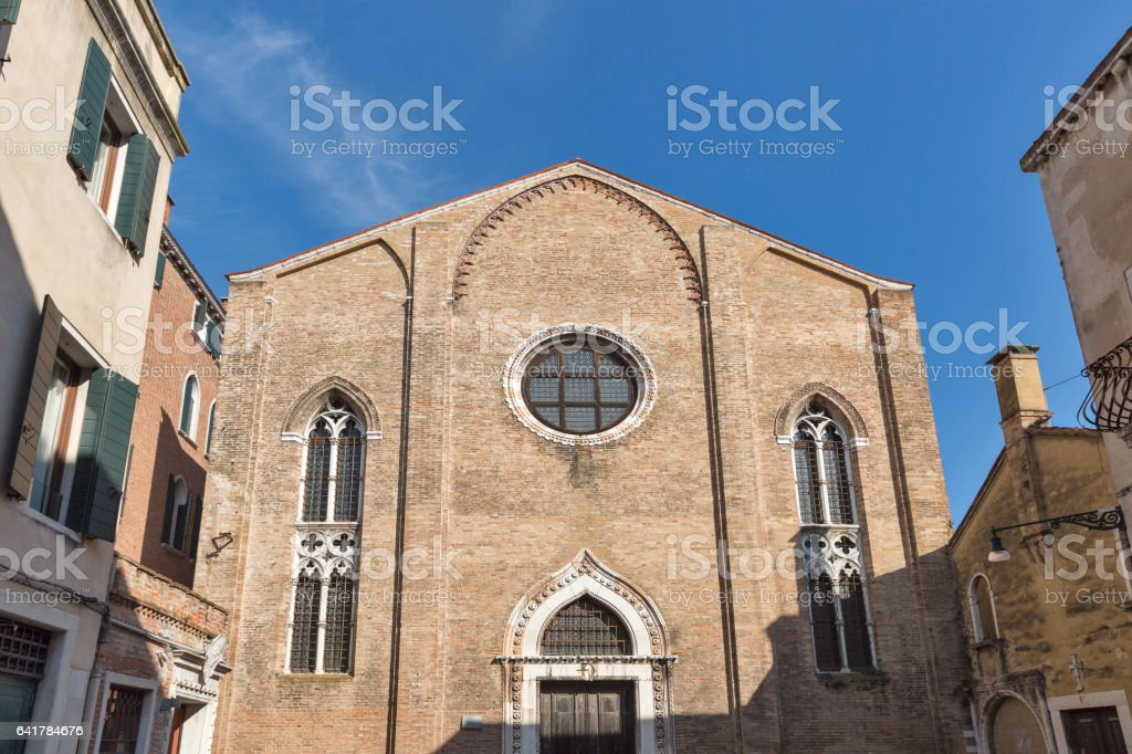 San Gregorio ancient church in Dorsoduro district, Venice, Italy. stock photo