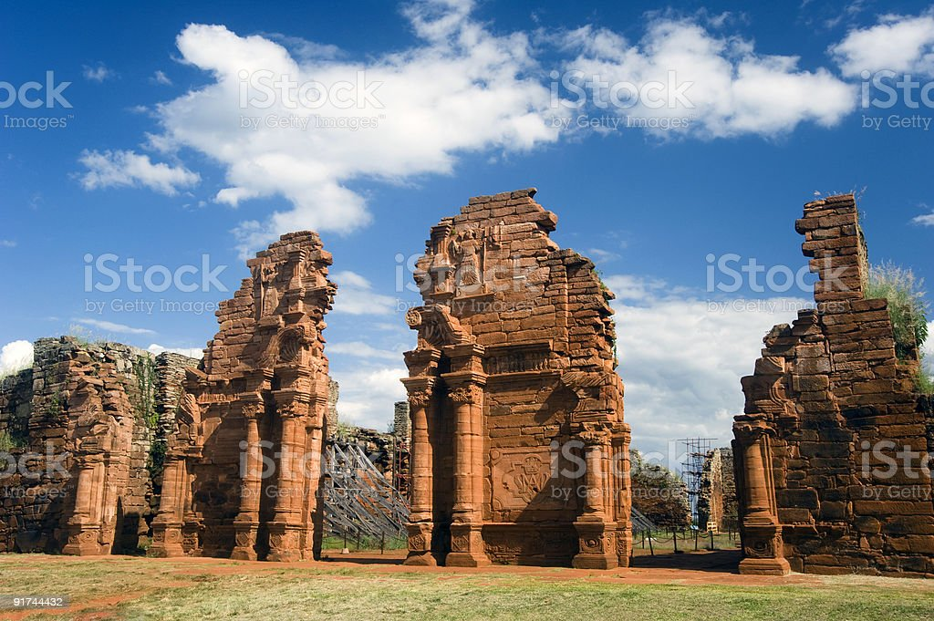 San Ignacio Ruins in Argentina stock photo