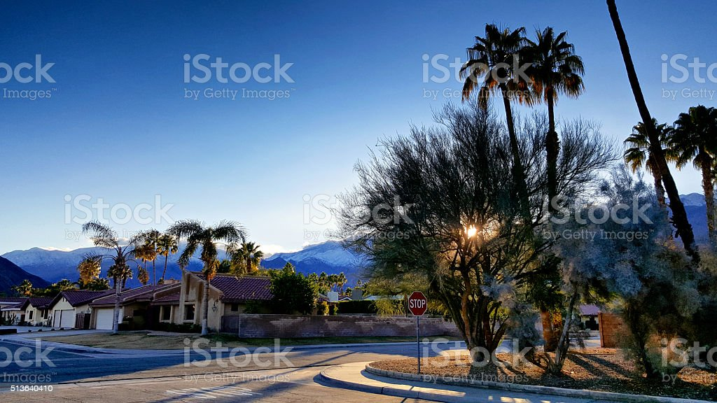 San Jacinto Mountains and Palm Springs Streetscape, Southern California, USA stock photo