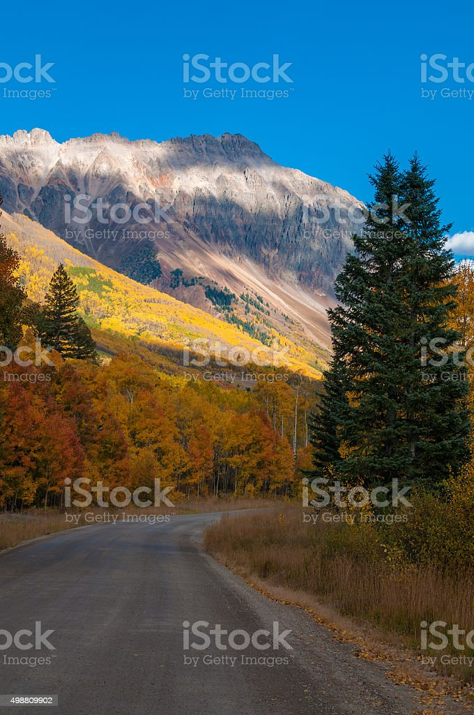 San Joaquin Ridge fall Colors Colorado Autumn Landscape stock photo