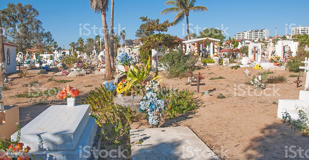 San Jos eDel Cabo cemetery with tomb stones and crosses stock photo