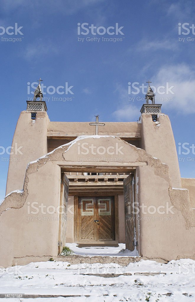 San Jose de Gracia Catholic Church in Snow stock photo