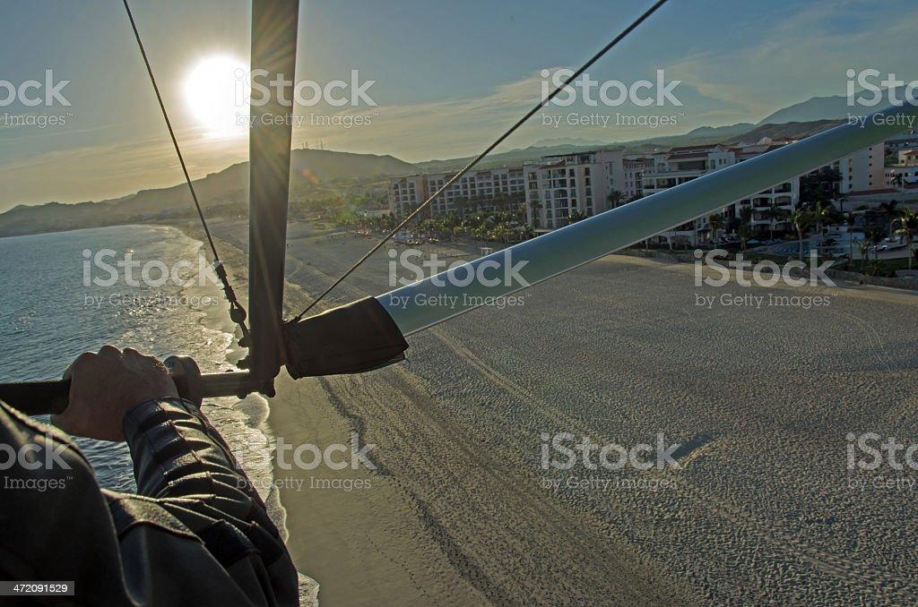 San Jose del Cabo Beach Flight Take Off stock photo