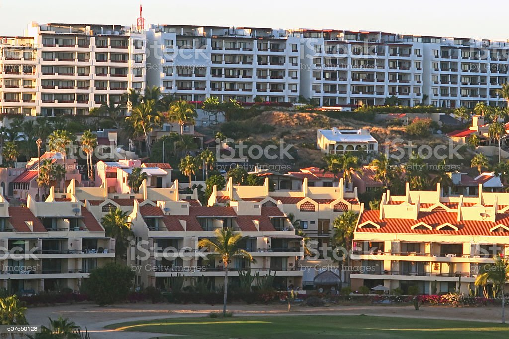 San Jose del Cabo condos along golf course-  from above stock photo