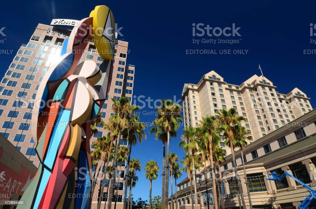 San Jose Downtown Scene with sculpture stock photo