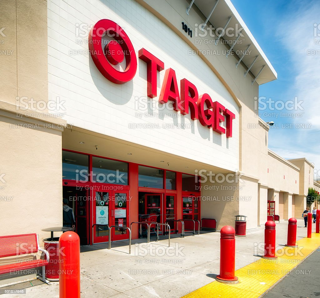 San Jose Target store entrance with sign oblique view stock photo