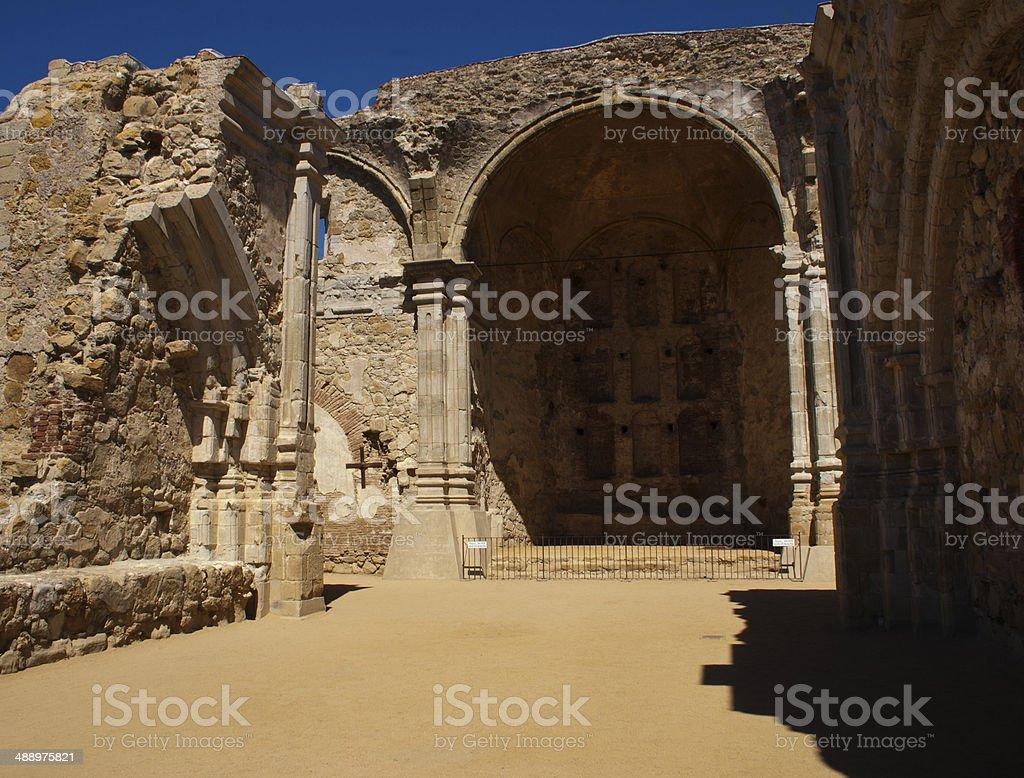 San Juan Capistrano missions ruins stock photo