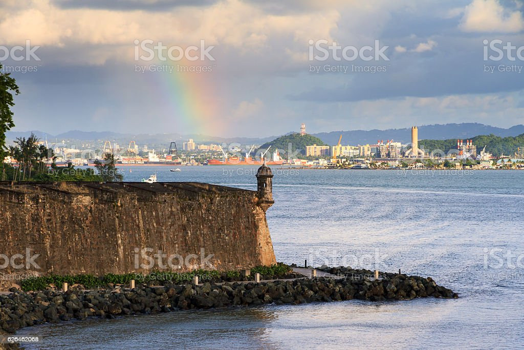 San Juan guerite rainbow stock photo