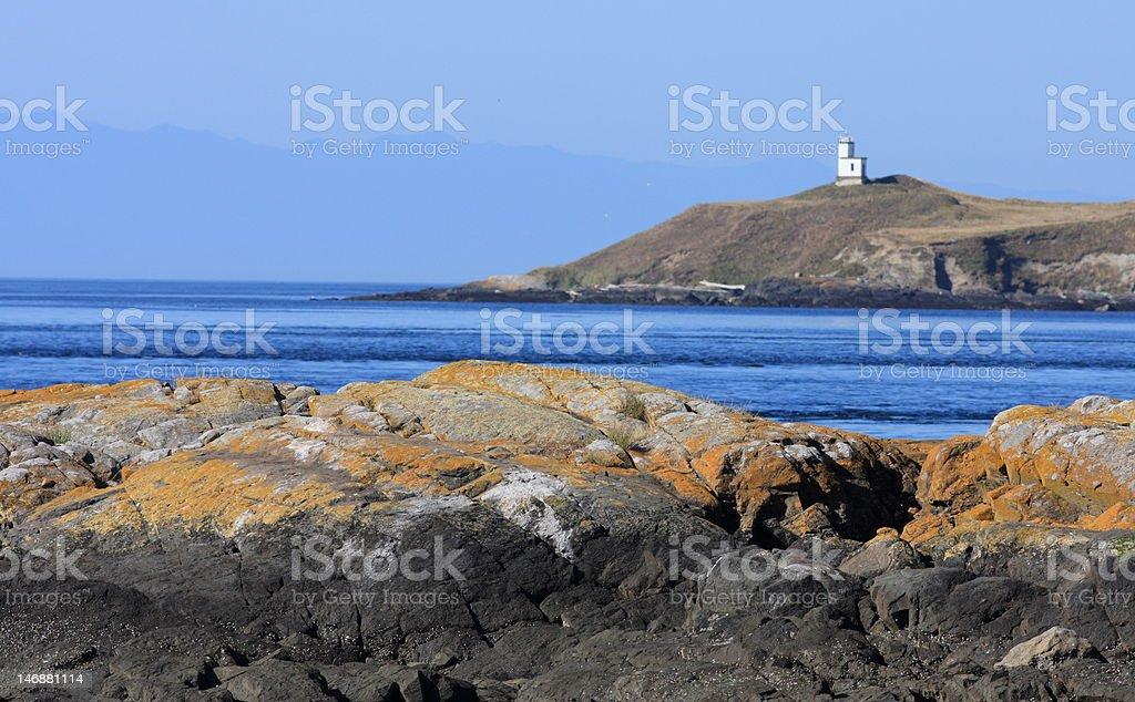 San Juan island light house stock photo
