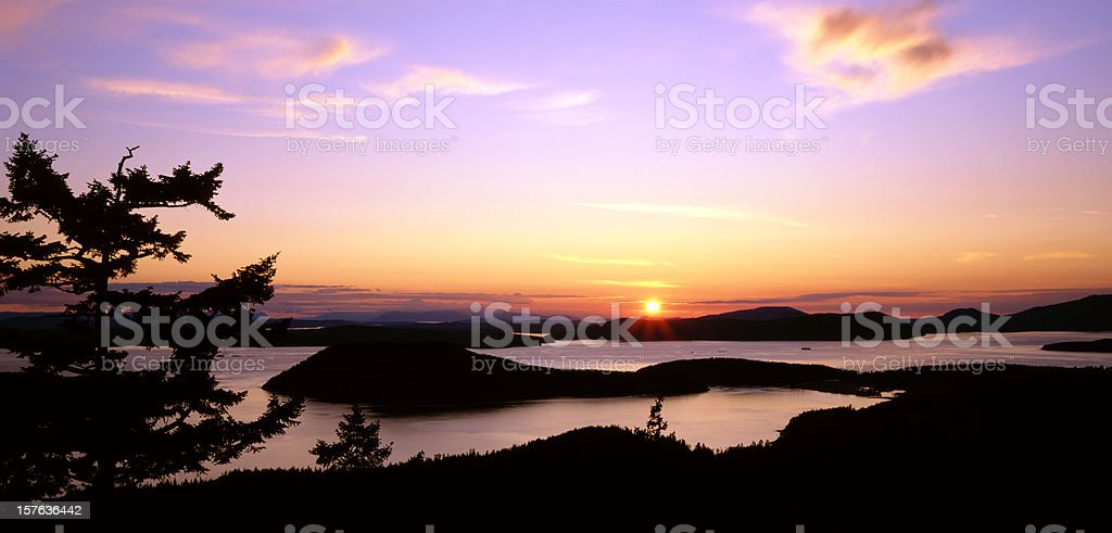 San Juan Island sunset stock photo