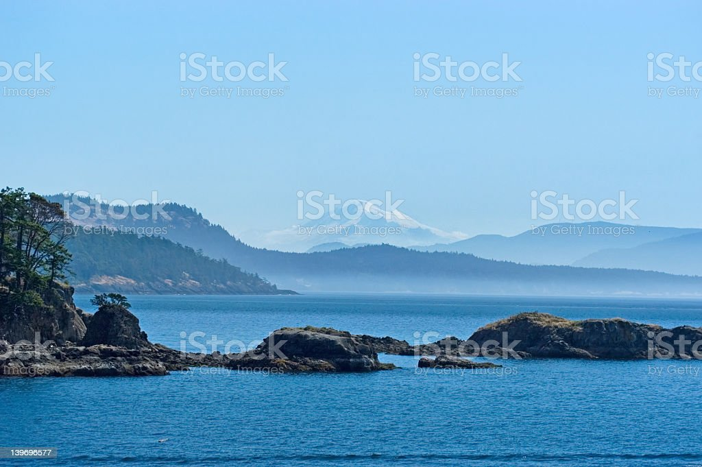 San Juan islands in the distance stock photo