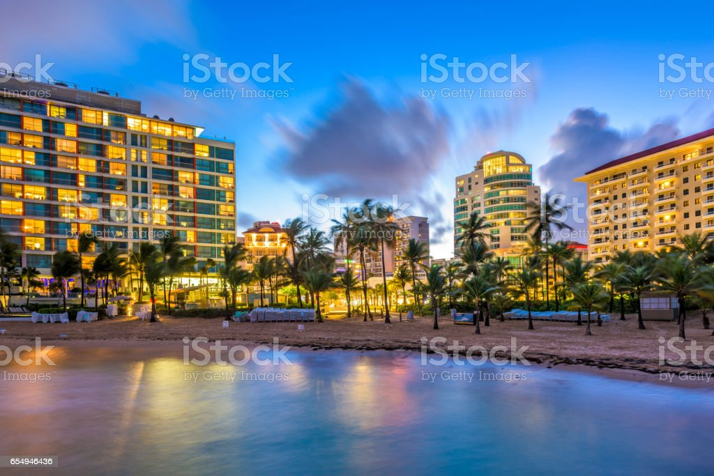 San Juan Puerto Rico Beachfront stock photo