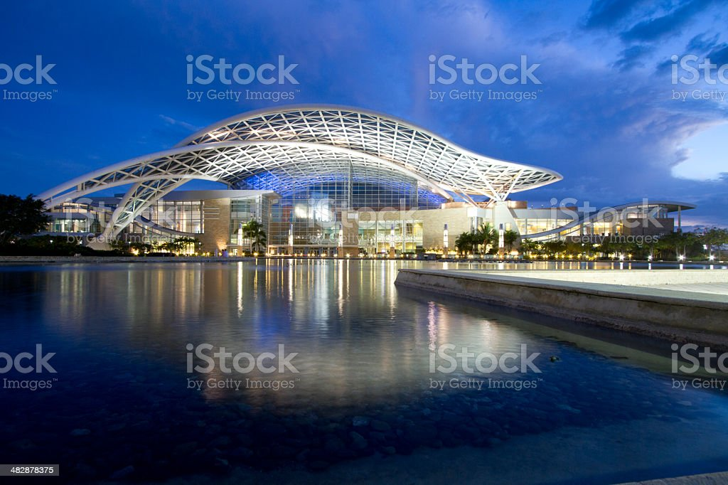 San Juan Puerto Rico Convention Center at Twilight WS stock photo