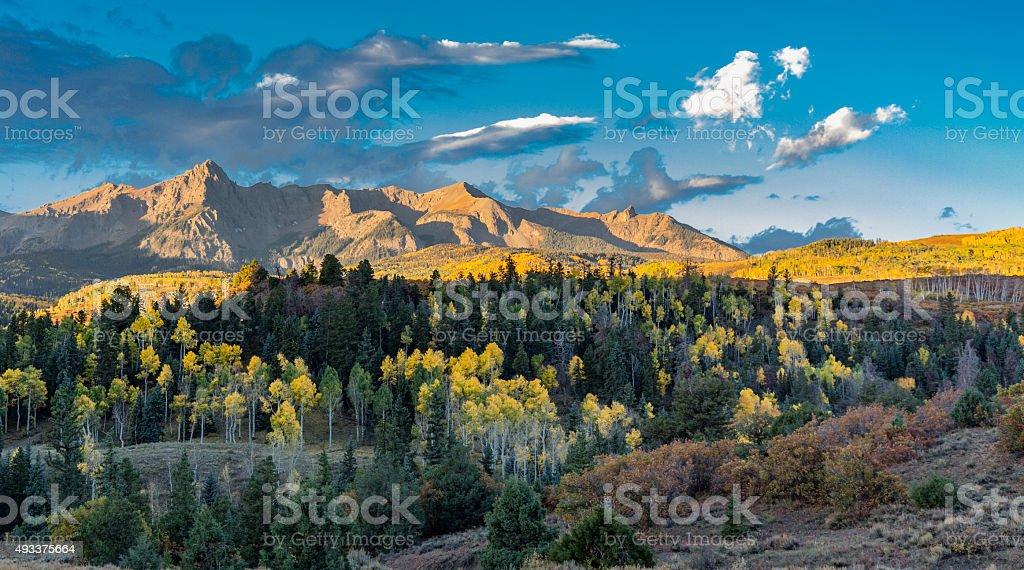 San Juan Range From County Road 9 at Sunrise stock photo