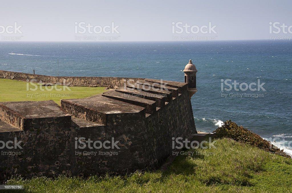 San Juan Sentry Box (Garita) Overlooking the Ocean stock photo