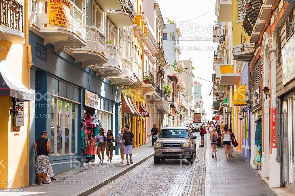San Juan street life stock photo