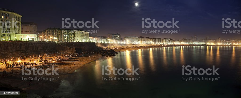 San Juan's night in Coru?a royalty-free stock photo