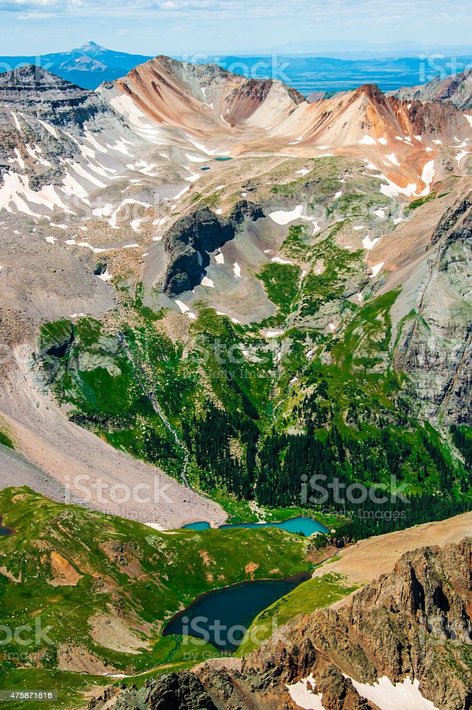 San Juan's Treasures Blue Lakes near Telluride Colorado stock photo