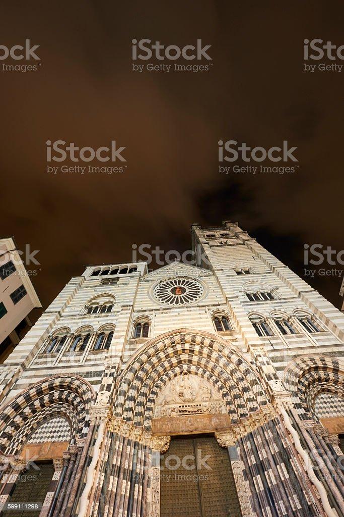 San Lorenzo Cathedral in Genova stock photo
