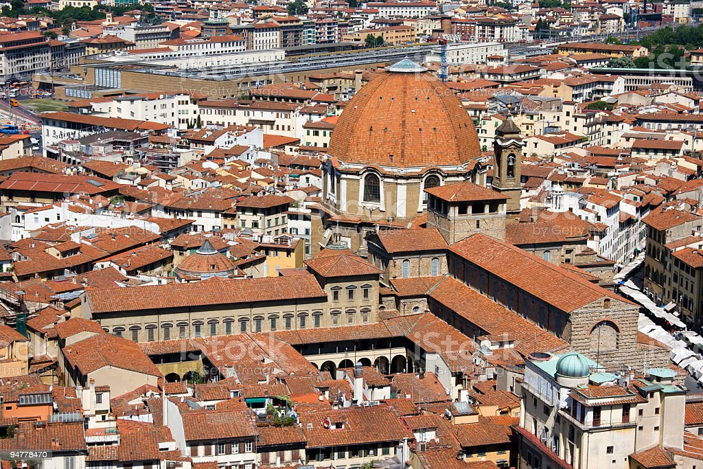 San Lorenzo Church, Aerial View in Firenze royalty-free stock photo