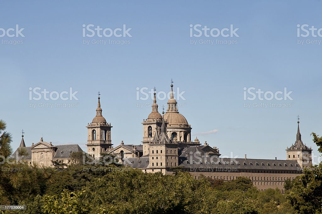 San Lorenzo de El Escorial Monastery Spires stock photo